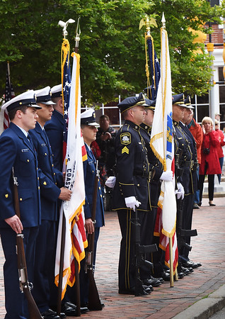 BRYAN EATON/Staff photo. U.S. Coast Guard and the Newburyport Police Department Color Guards stand at attention during Memorial Day ceremonies.