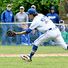 JIM VAIKNORAS/Staff photo Georgetown pitcher Kyle Greenler makes a play on a pop-up bunt against Newburyport leading to a double play during the Clipper's 2-1 victory over Georgetown in the Bert Spofford Memorial Tournament Sunday in Georgetown.