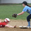 JIM VAIKNORAS/Staff photo Amesbury's Haley Catania dives safely back to second as Triton's Emily Karvielis field the throw at Perry Field in Amesbury Friday.