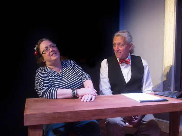 "JIM VAIKNORAS/Staff photoMO McDonald as Womikin and Joe Dominquez as Mr Stone in the Actor Studio production of ""The Trail of Mr. Stone,"""