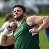 JIM VAIKNORAS/Staff photo Pentucket's Lucas Woldach withhe shotput at the Pentucket, Amesbury, Newburyport meet at Fuller Field Wednesday.