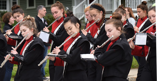 "BRYAN EATON/Staff photo. The Amesbury High School Marching Band play ""As the Caissons Go Rolling Along."""