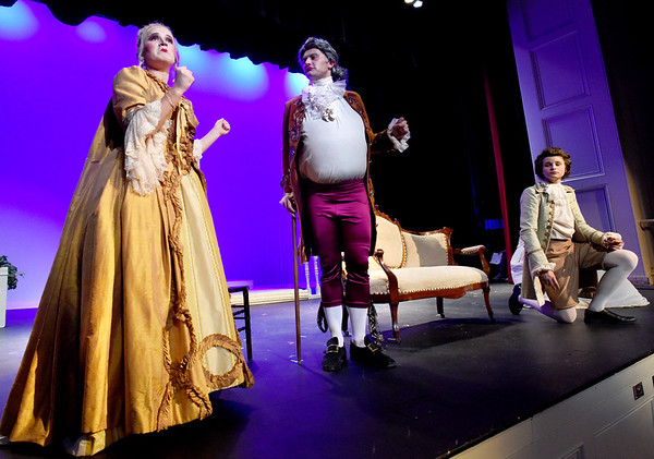 "BRYAN EATON/Staff photo. Act IV, Scene II of the Newburyport High Drama production of ""Rival,"" from left, Berit Palma as Mrs. Malaprop; Hunter Torr as SIr Anthony Absolute and Jackson Byrne as Jack Absolute."