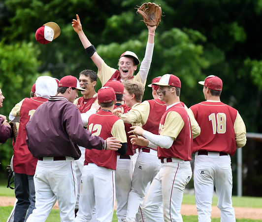 JIM VAIKNORAS/Staff photo Newburyport's Tom Murphy celebrates the Clipper's 2-1 victory over Georgetown to win the Bert Spofford Memorial Tournament Sunday in Georgetown.
