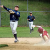 BRYAN EATON/Staff Photo. Newburyport's Ryan Archie comes up short at second base.