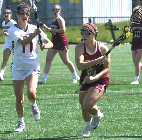 JIM VAIKNORAS/Staff photo Newburyport's Samantha King makes a move against Sudbury during the Harlem Lacrosse Tournament in Boston Saturday.