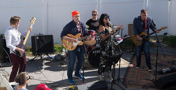JIM VAIKNORAS/Staff photo Pathological Outliers performs at the 5th annual Plum Fest on Plum Island Saturday. The band was one of almost 100 to entertain thousands of music lovers throughout the day.