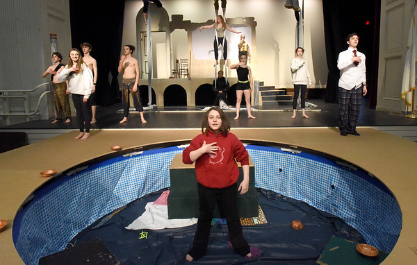 "BRYAN EATON/Staff Photo. Newburyport High Drama Club rehearse the play ""Metamorphoses"" which they will be performing on May 10-11, and May 16-18. The play involved a community grant partnership as the set includes a small swimming pool."