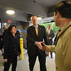 BRYAN EATON/Staff Photo. Mayor Donna Holaday and Gov. Charlie Baker greet people before the ribbon-cutting of the new parking garage.
