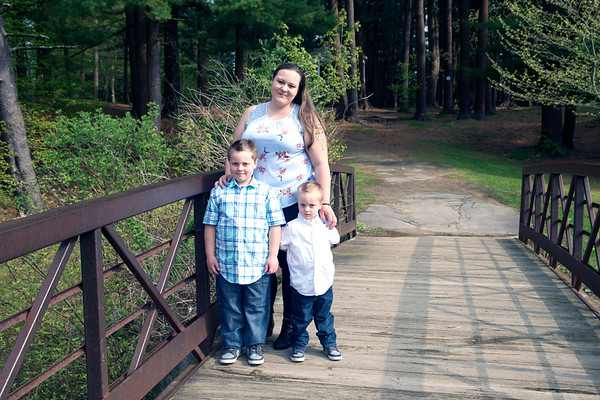 JIM VAIKNORAS/Staff photo Regina Severus, of Amesbury, with her boys Jayden, 7, and Julian, 3, at Amesbury Park.
