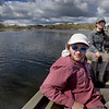 BRYAN EATON/Staff Photo. Justin Lesser, a Ph.D student, left, and Hillary Sullivan a research assistant with the Woods Hole Oceanographic Institute, head out to their testing areas in the Rowley River.