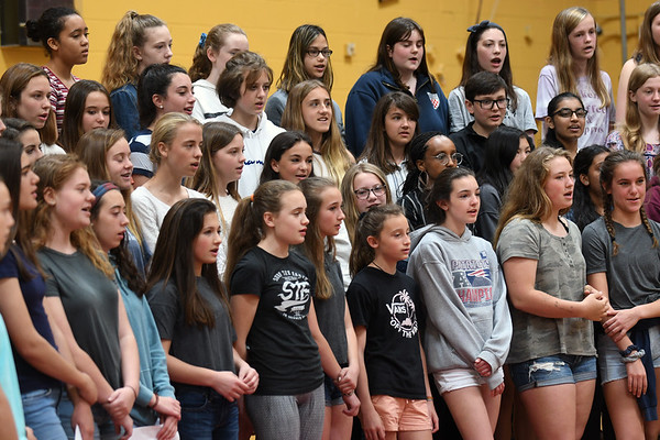 """JIM VAIKNORAS/Staff photo The Nock Middle School 8th grad chior perform """"Let Me Fly"""" at the opening of the Jacalyn Stuart Bennett Mindfulness & Wellness Space at the Nock Middle School Friday."""