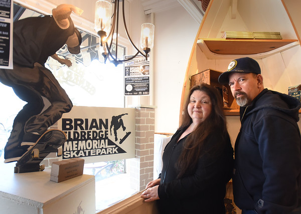 BRYAN EATON/Staff Photo. Donna Eldredge and her husband, Dave Stelline, are fundraising to create a skatepark in Amesbury in memory of their late son, Brian Eldredge.
