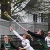BRYAN EATON/Staff Photo. Annaliese Truesdale and Pentucket's Jacqui Cloutier reach for a loose ball.