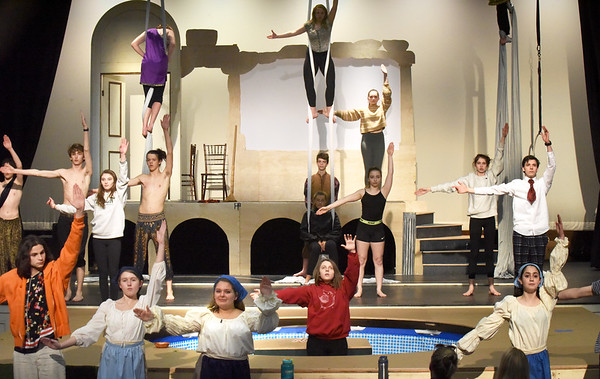 """BRYAN EATON/Staff Photo. Newburyport High Drama Club rehearse the play """"Metamorphoses"""" which they will be performing on May 10-11, and May 16-18. The play involved a community grant partnership as the set includes a small swimming pool."""