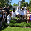 """JIM VAIKNORAS/Staff photo 2019 graduates of The Governor's Academy 'Jump The Wall"""" after Commencements Sunday morning at the school in Byfield."""