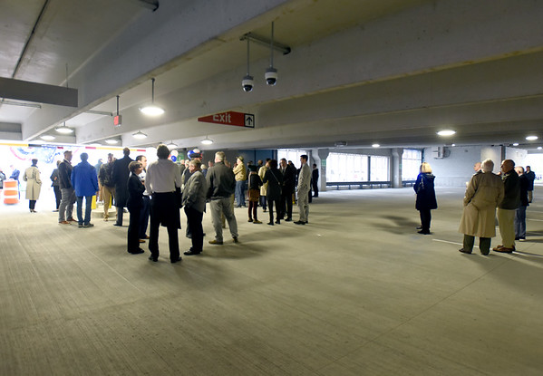 BRYAN EATON/Staff Photo. Close to 50 people showed up for the opening of Newburyport's new parking garage.