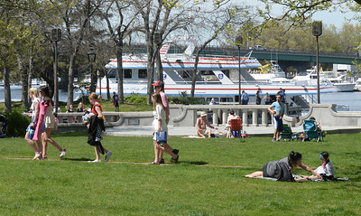 BRYAN EATON/Staff photo. With a temperature of 81 degrees, Newburyport's Waterfront Park was a popular spot on Thursday afternoon. The weather stays nice througout the Memorial Day Weekend with a very slight chance of rain Saturday forecast.