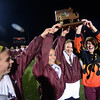 Lynn: Newburyport soccer captains with the championship trophy in the North Div 3 finals  at Manning Field in Lynn. Jim Vaiknoras/staff photo