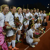Worcester:Newburyport's girl soccer teampose for photos after their 1-0 victory over Granby at Foley Stadium in Worcester, giving them the Division 3 State Championship. Jim Vaiknoras/staff photo