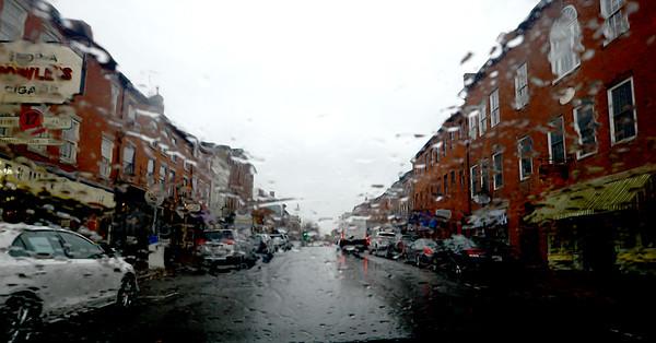 JIM VAIKNORAS/Staff photo Rain falls on State Street in Newburyport Saturday afternoon.