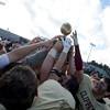 JIM VAIKNORAS/Staff photo Newburyport celebrates their victor  over Amesbury at World War Memorial Stadium.