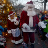 JIM VAIKNORAS/Staff photo Santa and Mrs Claus greet kids  at the annual tree lighting in Market Square In Newburyport Sunday.