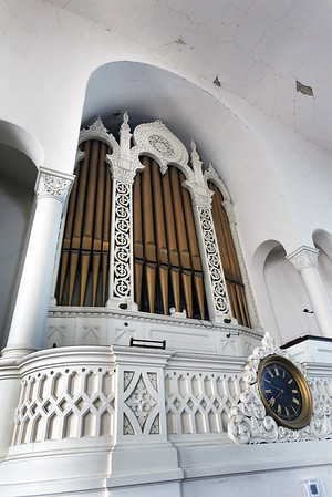 BRYAN EATON/Staff photo. The Belleville Congregational Church in Newburyport's 150 year-old organ. The church is having a fundraiser to renovate the organ and make repairs to the ceiling of the sanctuary.