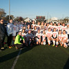 JIM VAIKNORAS/Staff photo The Amesbury girl soccer team poses with their trophy after their 5-0 victory over St. Joseph's Prep at Manning Field in Lynn Sunday afternoon.