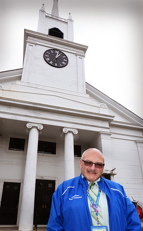 BRYAN EATON/Staff photo. Rev.Bob Hagopian is leaving after almost 20 years at the First Congregational Church in Rowley.