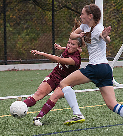 JIM VAIKNORAS/Staff photo  Newburyport's Krysta Padellaro makes a defensive play against Lynnfield  Monday. The Clippers won the game in Lynnfield 1-0 in overtime.