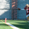 JIM VAIKNORAS/Staff photo Newburyport's Myles Maloof celebrates a touch down at the Newburyport/Amesbury Thanksgiving football game at World War Memorial Stadium in Newburyport Thursday.