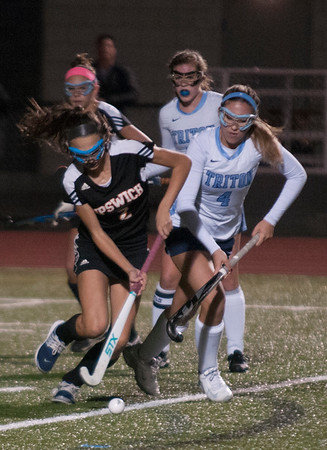JIM VAIKNORAS/Staff photo Triton's Julia Cordeau controls the ball against Ipswich at Triton Wednesday night.