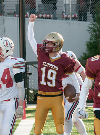 JIM VAIKNORAS/Staff photo Newburyport's Connor Skane celebrates  2 points at the Newburyport/Amesbury Thanksgiving football game at World War Memorial Stadium in Newburyport Thursday.