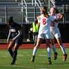 JIM VAIKNORAS/Staff photo Amesbury's Chelsea Lynch,#12, congratulates Ashley Pettet , #8, after her fist half goal   against St. Joseph's Prep at Manning Field in Lynn Sunday afternoon