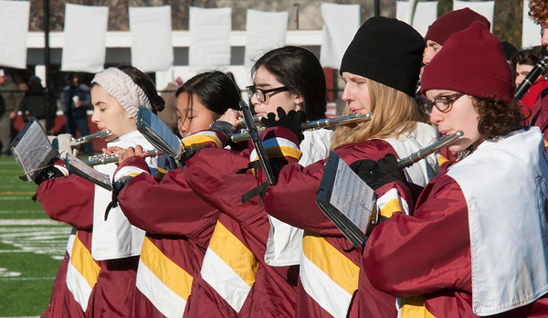 JIM VAIKNORAS/Staff photo The Newburyport flutes section performs at the Newburyport/Amesbury Thanksgiving football game at World War Memorial Stadium in Newburyport Thursday.