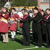 JIM VAIKNORAS/Staff photo The combined Newburyport and Amesbury bands play the National Anthem at the Newburyport/Amesbury Thanksgiving football game at World War Memorial Stadium in Newburyport Thursday.