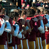 JIM VAIKNORAS/Staff photo Newburyport's football team stand with the hands on each other shoulders during the playing of the National Anthem at the Newburyport/Amesbury Thanksgiving football game at World War Memorial Stadium in Newburyport Thursday.