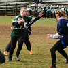 JIM VAIKNORAS/Staff photo Pentucket's Diana Dellaolea gains yardage during the annual Powder Puff football game against Triton at Pentucket Saturday. Pentucket defeated the Viking 21-13.