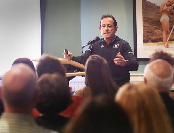 BRYAN EATON/Staff photo. Boston Marathon race director Dave McGillivray speaks at the Amesbury Chamber of Commerce at Vasa in Salisbury.