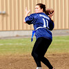 JIM VAIKNORAS/Staff photo Triton's Bridget Sheehan looks to pass during the annual Powder Puff football game at Pentucket Saturday. Pentucket defeated the Viking 21-13.