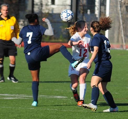JIM VAIKNORAS/Staff photo Amesbury's Chelsea Lynch blocks a shot with her head against St. Joseph's Prep at Manning Field in Lynn Sunday afternoon
