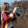 JIM VAIKNORAS/Staff photo JIM VAIKNORAS/Staff photo Newburyport Drum Major Amy O'Rourke conducts the Clipper band at the Newburyport/Amesbury Thanksgiving football game at World War Memorial Stadium in Newburyport Thursday.