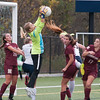JIM VAIKNORAS/Staff photo  Newburyport's Jennifer Stuart makes a save against Lynnfield  Monday. The Clippers defeated Lynnfield in Lynnfield 1-0 in overtime.