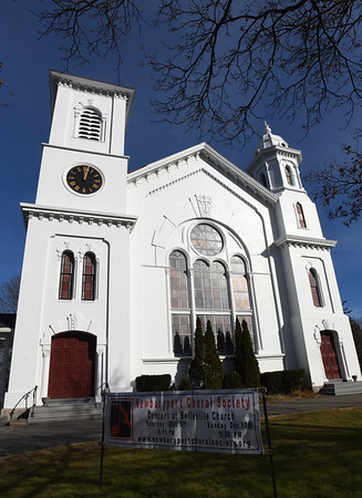BRYAN EATON/Staff photo. Newburyport's Belleville Congregational Church on High Street was built in the 1870's.