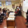 "BRYAN EATON/Staff photo. German exchange students Tina Schindelhauer, left, and Anna-Maria Lay give a presentation on ways for cities to become ""green"" at Newburyport High School on Wednesday morning."