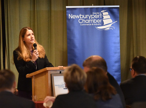 BRYAN EATON/Staff photo. Rosalin Acosta, the newly appointed Secretary of Labor & Workforce Development spoke at the Greater Newburyport Chamber of Commerce and Industry on Thursday morning at the Masonic Hall.