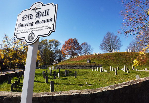 BRYAN EATON/Staff photo. Old Hill Burying Ground on the corner of Pond and Greenleaf Streets in Newburyport was laid out buy the Third Parish in Newbury in 1729.