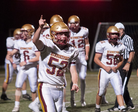 JIM VAIKNORAS/Staff photo Newburyport's Matthew Donlan celebrates a Clipper touchdown at Lynnfield Friday night.