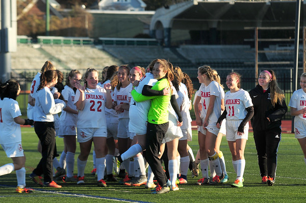JIM VAIKNORAS/Staff photo The Amesbury girl soccer team celebrate their 5-0 victory over St. Joseph's Prep at Manning Field in Lynn Sunday afternoon